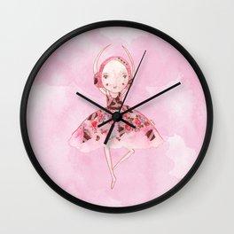 Isabella Bellarina Dancing on Pink Watercolour Wall Clock