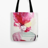 red Tote Bags featuring Bright Pink - Part 2  by Jenny Liz Rome