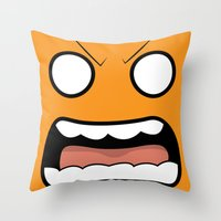 scary Throw Pillows featuring Scary Face by Tombst0ne