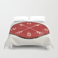 compass Duvet Covers featuring Compass by Duke Dastardly