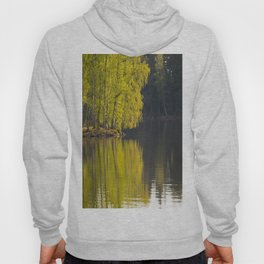 New Leaves of Birch - Vivid Green Color Reflection on Water Surface #decor #society6 #buyart Hoody