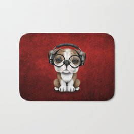 English Bulldog Puppy Dj Wearing Headphones and Glasses on Red Bath Mat