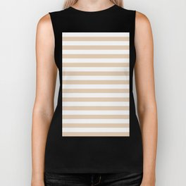Narrow Horizontal Stripes - White and Pastel Brown Biker Tank