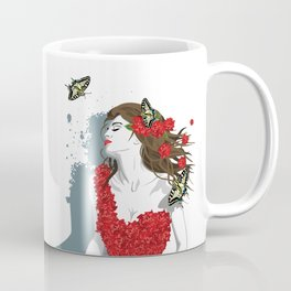 Woman in Dress from Gibiscus Flowers and Butterflies Coffee Mug