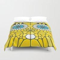spongebob Duvet Covers featuring Spongebob Voronoi by Enrique Valles