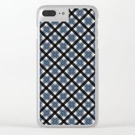 Black and blue tartan Clear iPhone Case