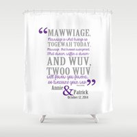 princess bride Shower Curtains featuring custom listing for Wedding Date and names Princess Bride by studiomarshallarts