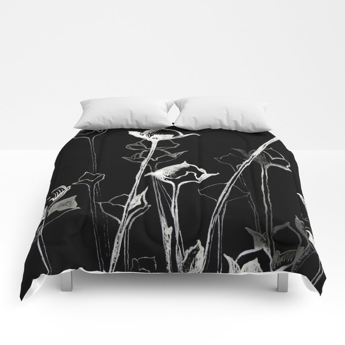 Graphic Art White Ink And Black Cardboard Flowers Comforters By