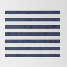 Nautical Navy Blue and White Stripes Throw Blanket