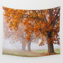 Oaks in the misty Autumn morning (Golden Polish Autumn) Wall Tapestry