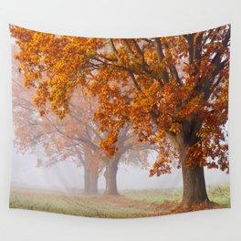 Oaks in the misty Autumn morning (Golden Polish Autumn) Wall Tapestry