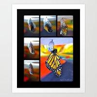 Monarch Hatching Collage Art Print