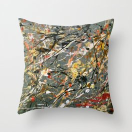 Jackson Pollock Interpretation Acrylics On Canvas Splash Drip Action Painting Throw Pillow