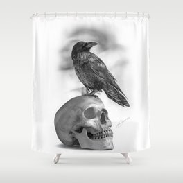 The Raven and The Skull - By Julio Lucas Shower Curtain