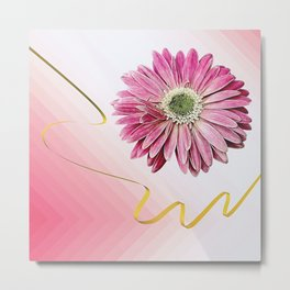 pink gerbera daisy with ribbon Metal Print