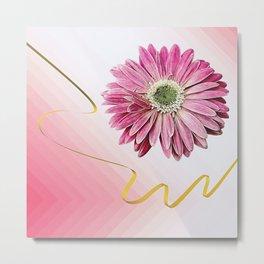 pink gerbera daisy with ribbon Metal Print
