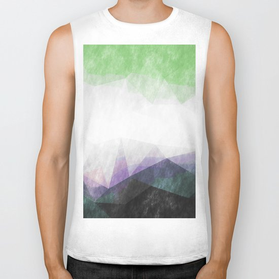 On the mountains- green watercolor - triangle pattern Biker Tank