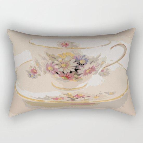 Tea   Daisy Vintage Teacup   Nadia Bonello Rectangular Pillow