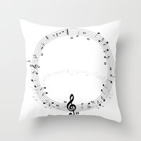 music notes Throw Pillows featuring music notes by Impurist