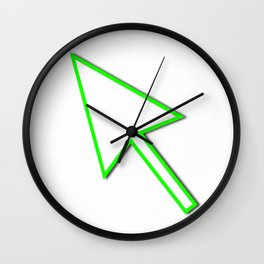 Cursor Arrow Mouse Green Line Wall Clock