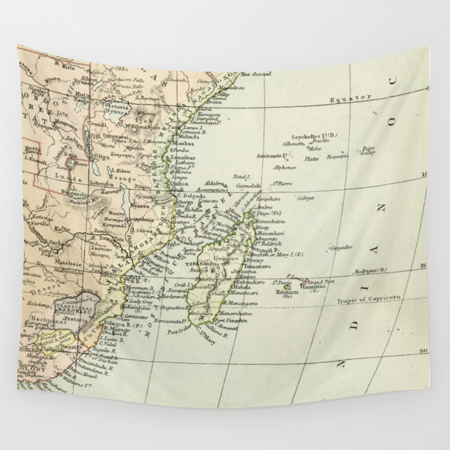 Map Of Africa Song.Vintage Map Of Africa Wall Tapestry