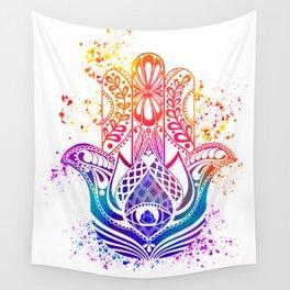 Hamsa Splatter Wall Tapestry