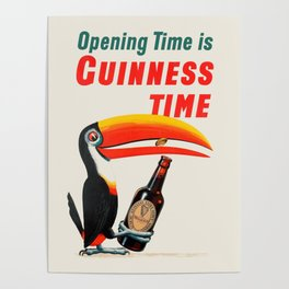Opening Time Is Guinness Time - Original vintage Beer poster Poster