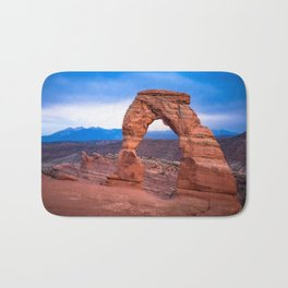 Delicate - Delicate Arch Glows on Rainy Day in Utah Desert Bath Mat
