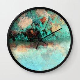 Bright Aqua and Copper Pond Landscape Wall Clock