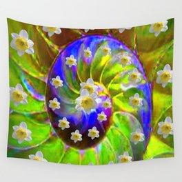 ULTRA VIOLET GREEN GARDEN  SPIRAL &  DAFFODILS ART Wall Tapestry