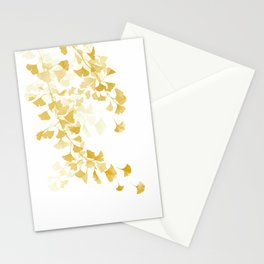 Yellow Ginkgo Leaves Watercolor Painting Stationery Cards