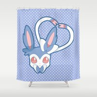sylveon Shower Curtains featuring Shining Attract by Burashi