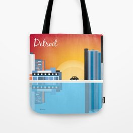 Detroit, Michigan - Skyline Illustration by Loose Petals Tote Bag