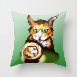 Silly ginger cat with a crystal ball Throw Pillow