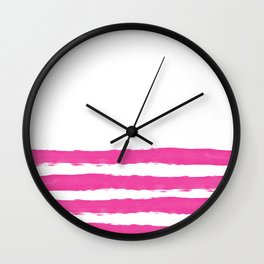 Simply hand painted pink stripes on white background -Mix and Match Wall Clock