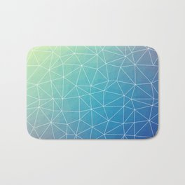 Abstract Blue Geometric Triangulated Design Bath Mat