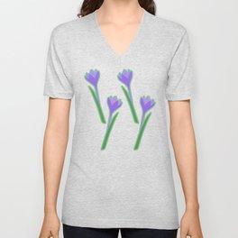 Spring purple Crocuses pattern Unisex V-Neck