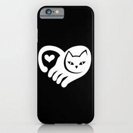 WHITE CAT HEART iPhone Case