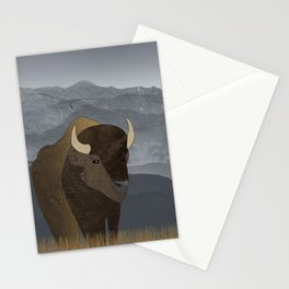 Bison Gray Mountains Stationery Cards