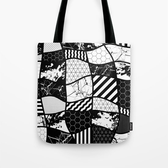 Crazy Patchwork (Abstract, black and white, geometric designs) Tote Bag