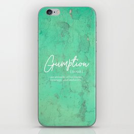 Gumption Definition - Word Nerd - Turquoise Texture iPhone Skin