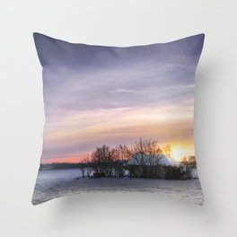 Hut in the snow Throw Pillow