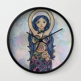 Pearlescent floral spiral goddess Wall Clock