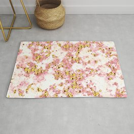 Rose Gold Glitter Bling Party Pink Sparkle Marble Rug