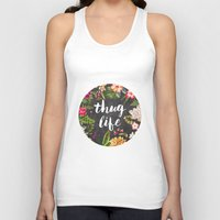 coffe Tank Tops featuring Thug Life by Text Guy