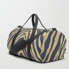 Zebra Stripes in Glam Blue and Gold Duffle Bag