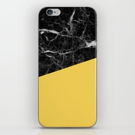 Black Marble and Primrose Yellow Color iPhone Skin