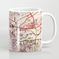 houston Mugs featuring Houston by MapMapMaps.Watercolors