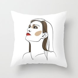 Woman with long hair and red lipstick. Abstract face. Fashion illustration Throw Pillow