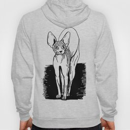 Black and White Sphynx Cat Line Drawing - Sphynx Lovers Gift - Naked Cat - Wrinkly Kitty Hoody